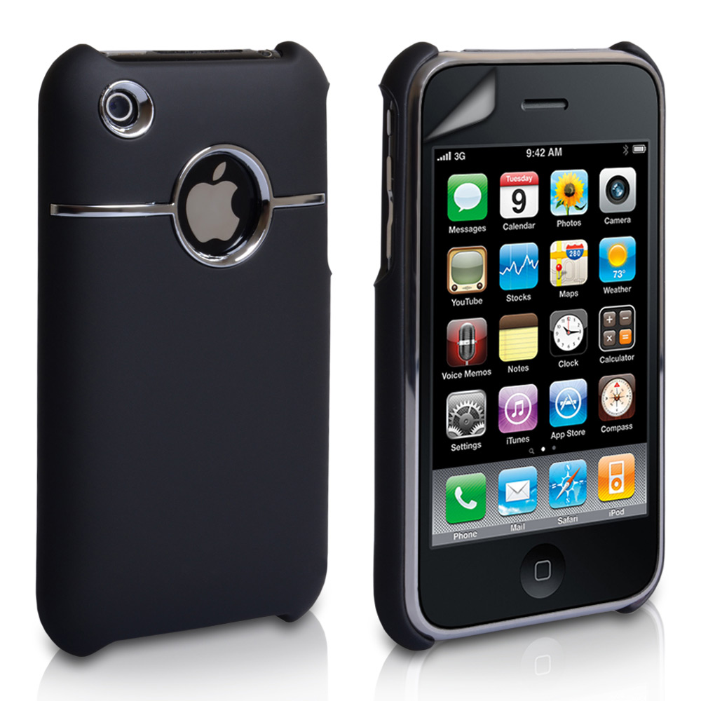 YouSave Accessories iPhone 3G / 3GS Hard Hybrid Case - Black