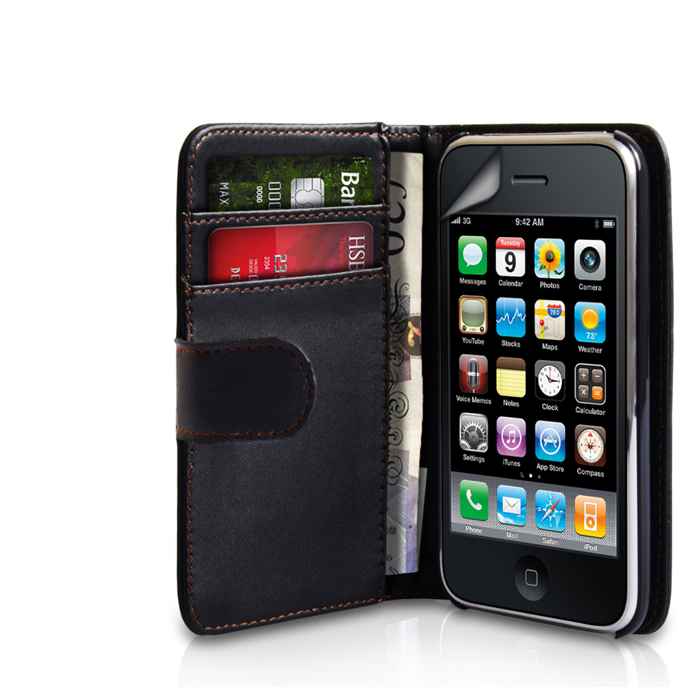 YouSave Accessories iPhone 3G / 3GS Leather Effect Wallet Case - Black