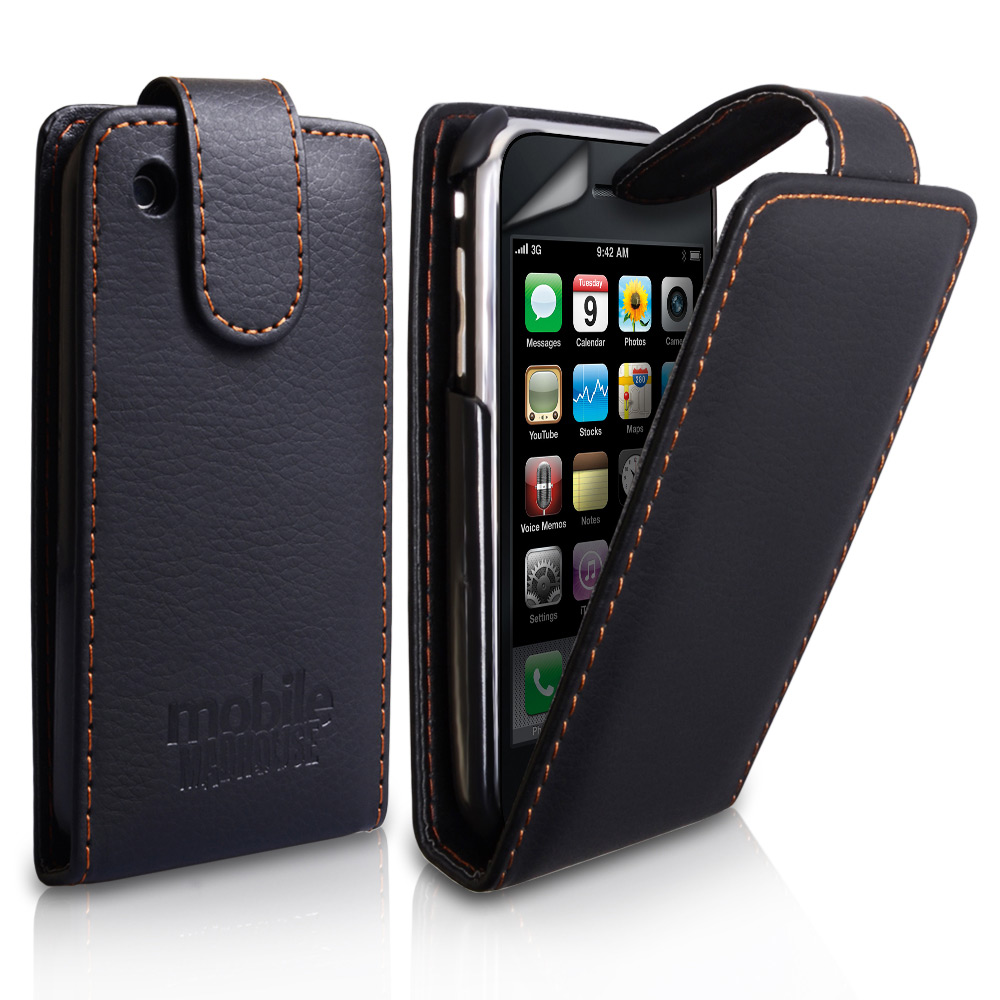 YouSave iPhone 3G / 3GS Embossed Leather Effect Flip Case - Black