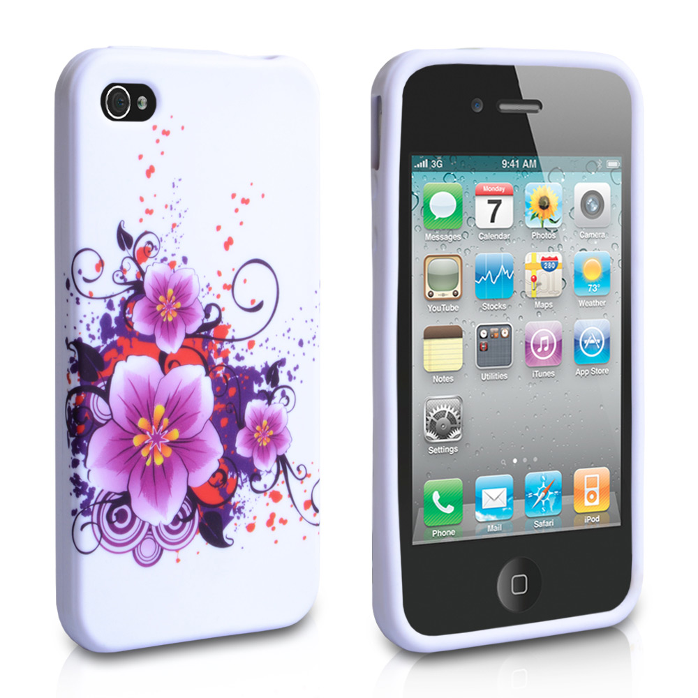YouSave Accessories iPhone 4 / 4S Flower Gel Case - Purple