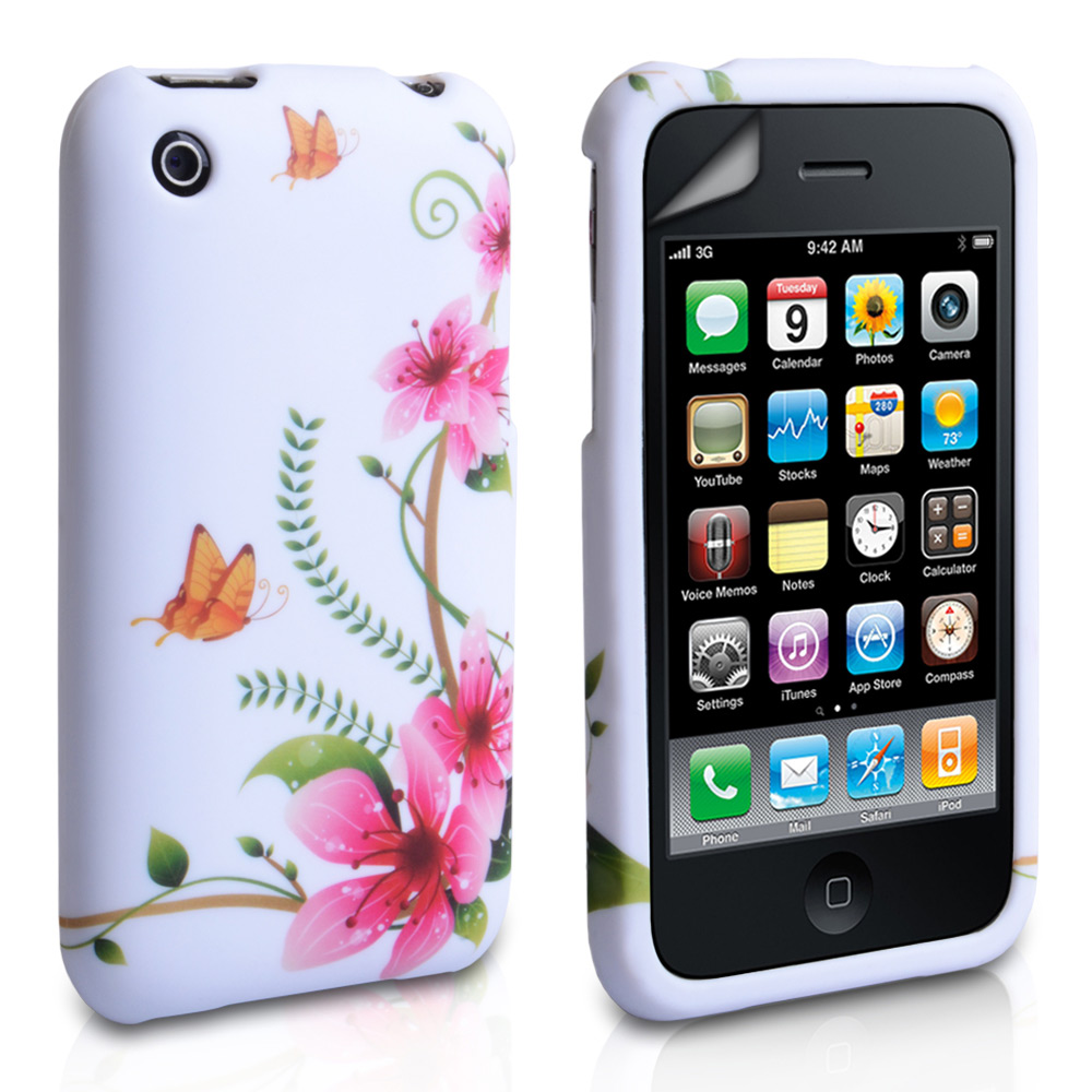 YouSave iPhone 3G / 3GS Butterfly Floral Gel Case - White-Pink
