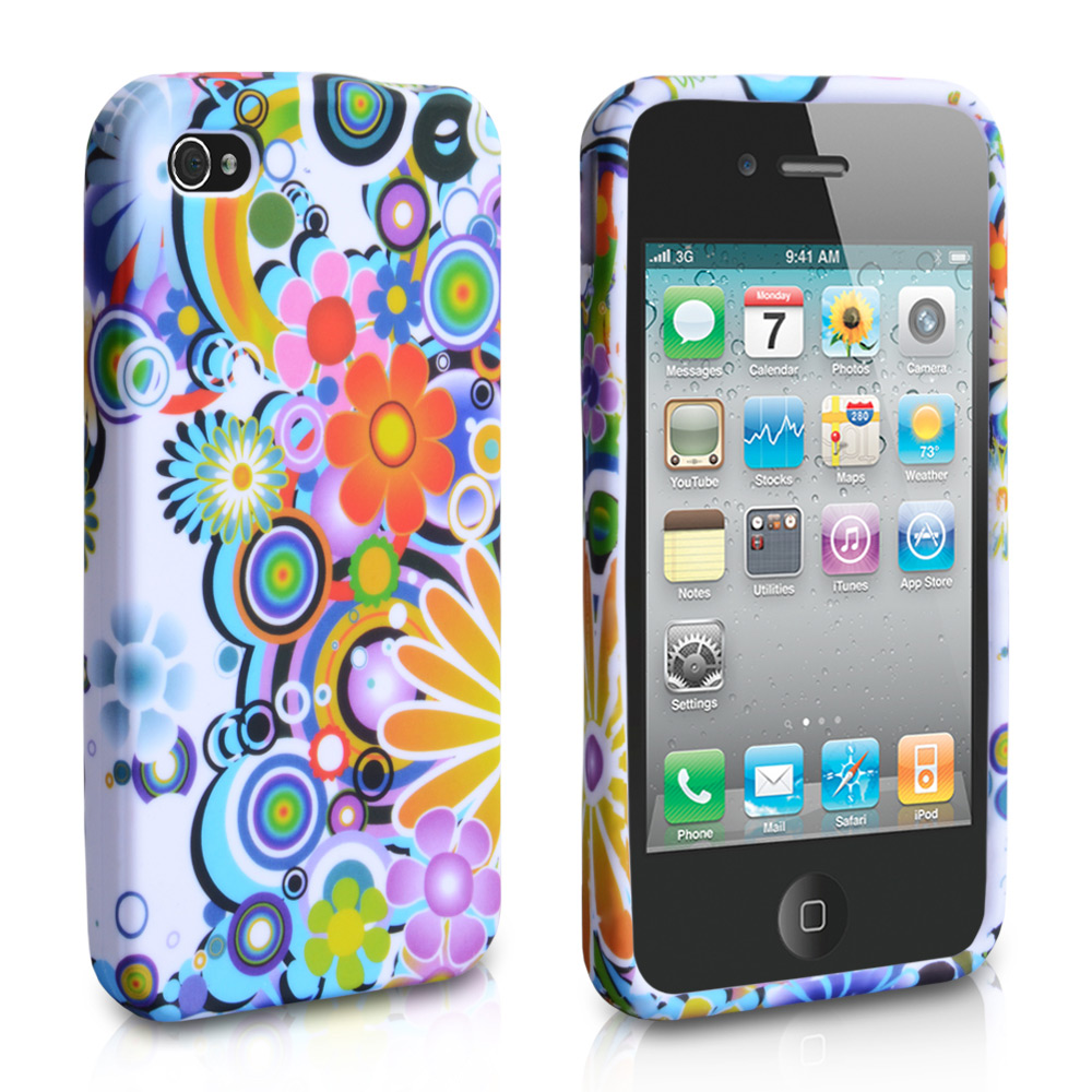 YouSave Accessories iPhone 4 / 4S Floral Rainbow Gel Case - White