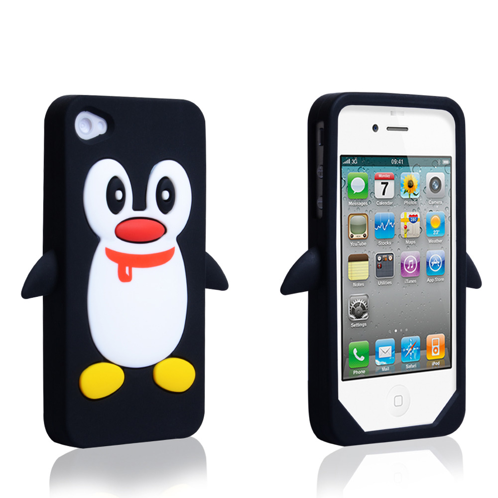 YouSave Accessories iPhone 4 / 4S Silicone Penguin Case - Black