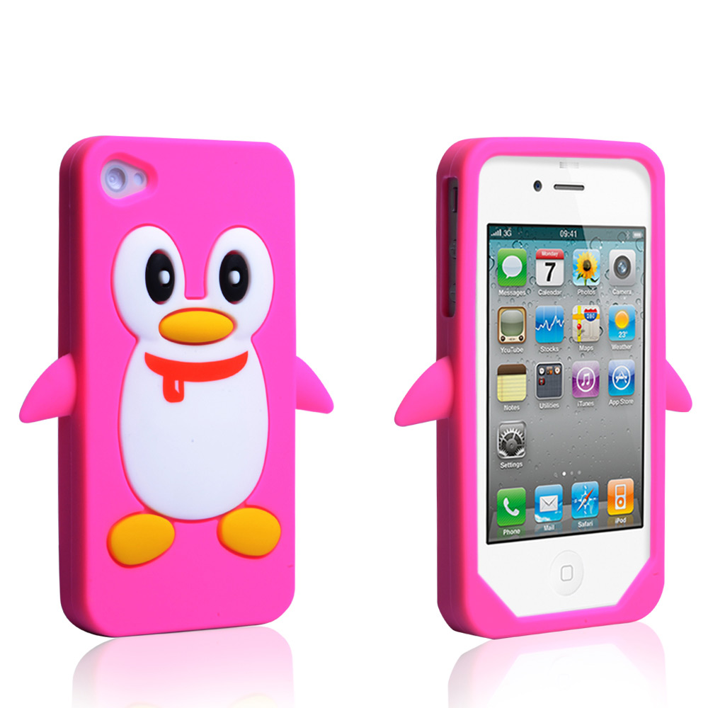 YouSave Accessories iPhone 4 / 4S Penguin Gel Case - Hot Pink