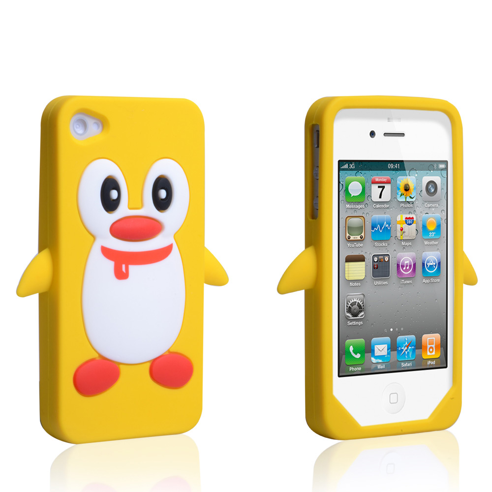 YouSave Accessories iPhone 4 / 4S Penguin Gel Case - Yellow
