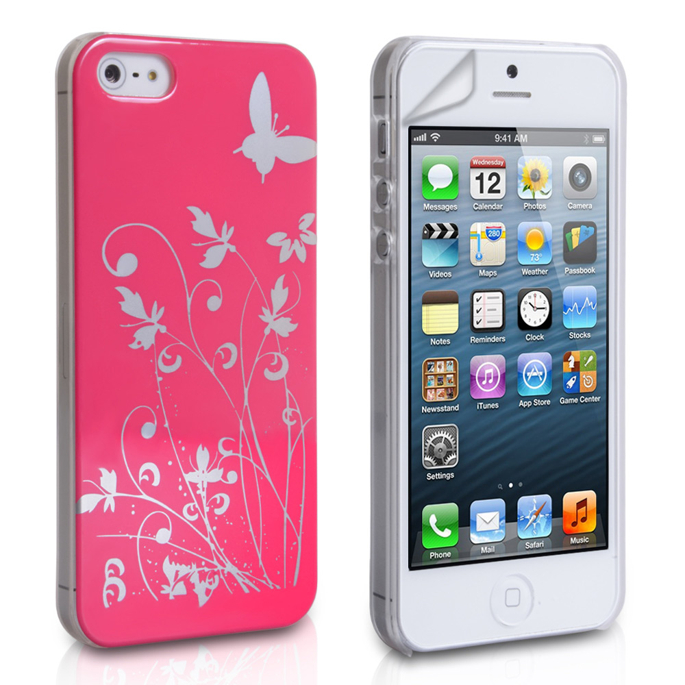YouSave iPhone 5 / 5S Floral Butterfly Hard Case - Hot Pink