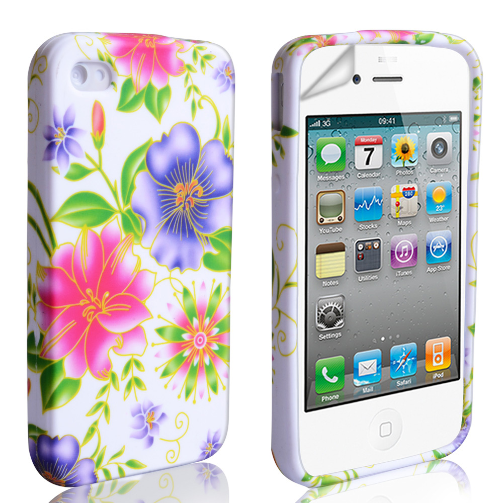 YouSave Accessories iPhone 4 / 4S Floral Gel Case - Pink-Purple