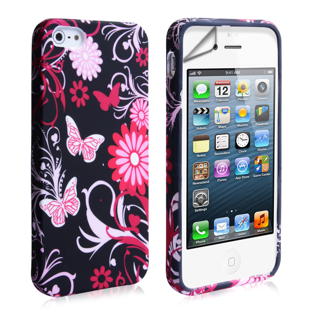 YouSave iPhone 5 / 5S Floral Butterfly Hard Case - Pink-Black