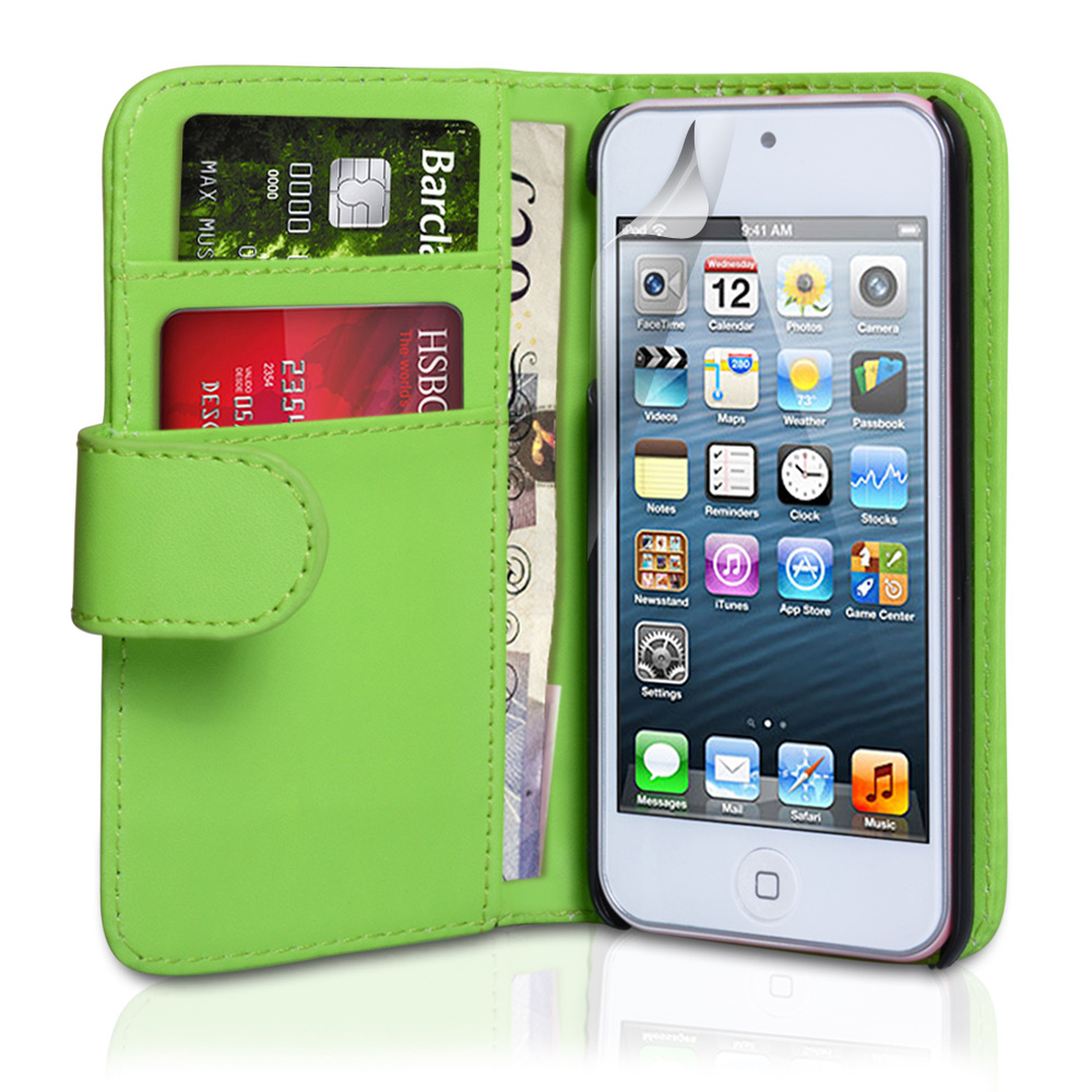 YouSave Accessories iPod Touch 5G Green Leather Effect Wallet Case