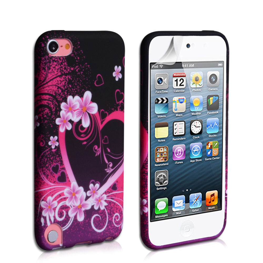 YouSave Accessories iPod Touch 5G Black-Pink Floral Heart Gel Case