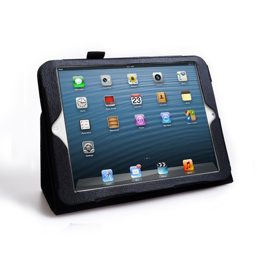 Caseflex iPad Mini Textured Faux Leather Effect Stand Case - Black