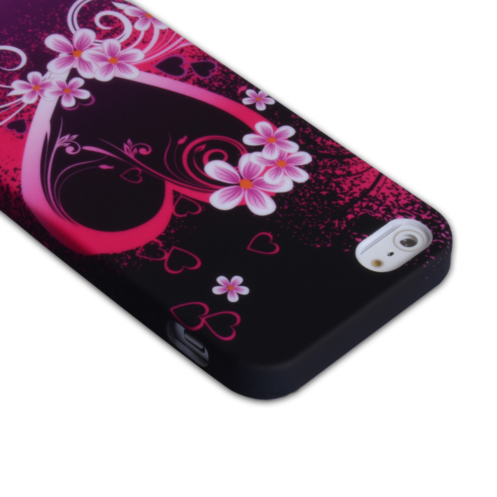 YouSave Accessories iPhone 5 / 5S Black-Pink Floral Gel Heart Case