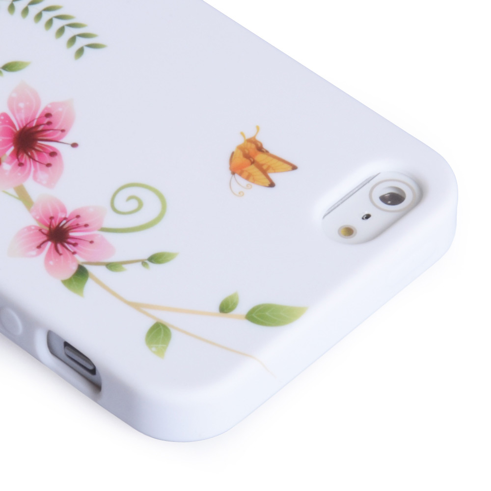 YouSave iPhone 5 / 5S Floral Butterfly Gel Case - White-Pink