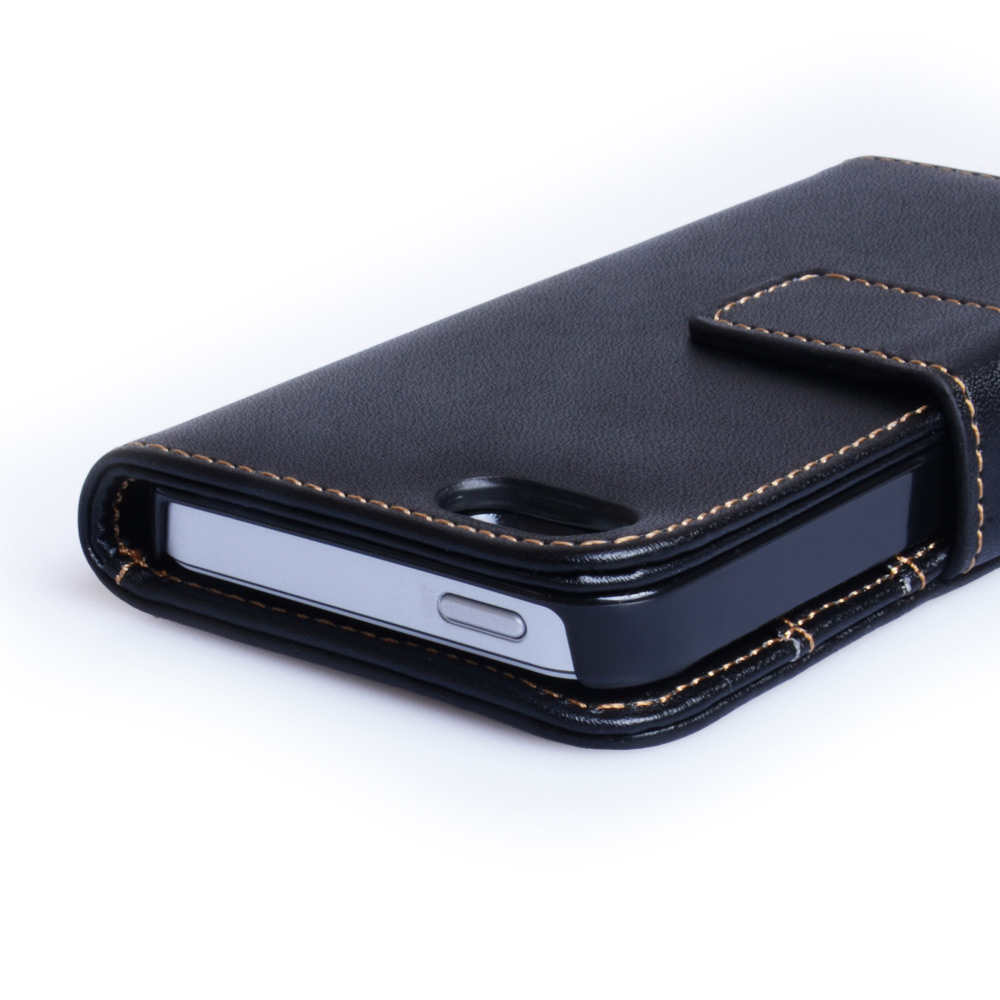 Yousave accessories iphone 5 and 5s leather effect wallet case black - Iphone 5s leather case ...