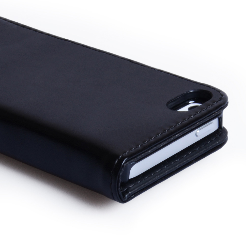 Caseflex iPhone 5 / 5S Real Leather Stand Wallet Case - Black
