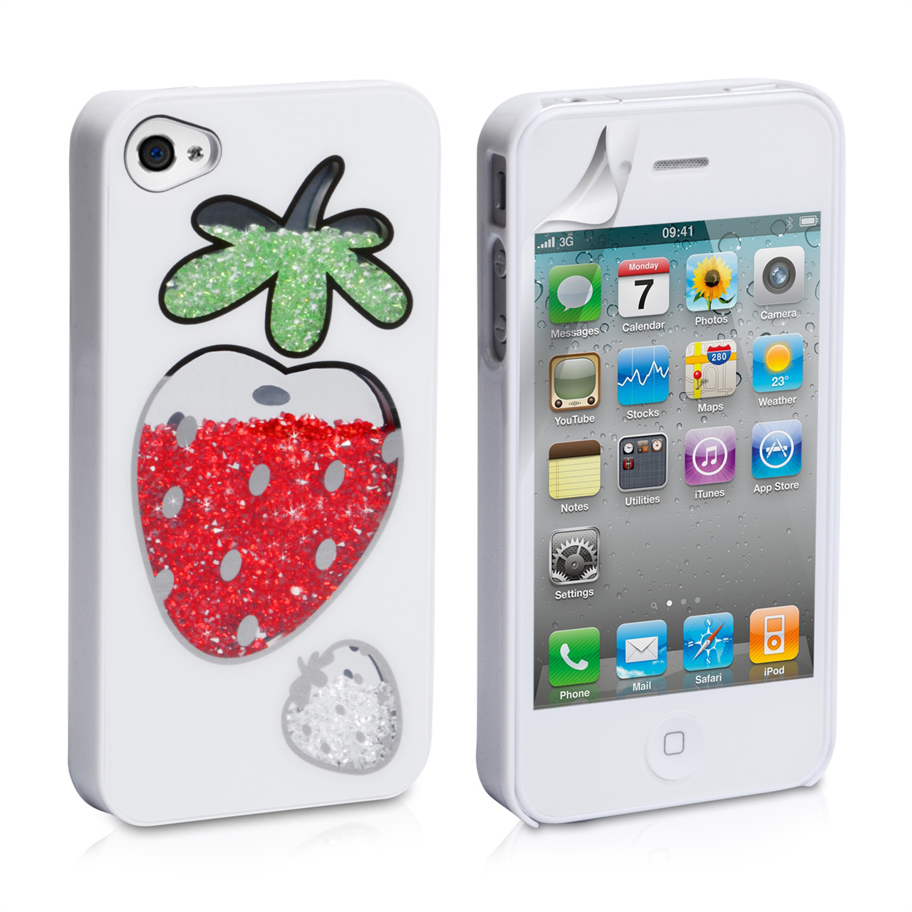 YouSave Accessories iPhone 4 / 4S Strawberry Bling Hard Case - White