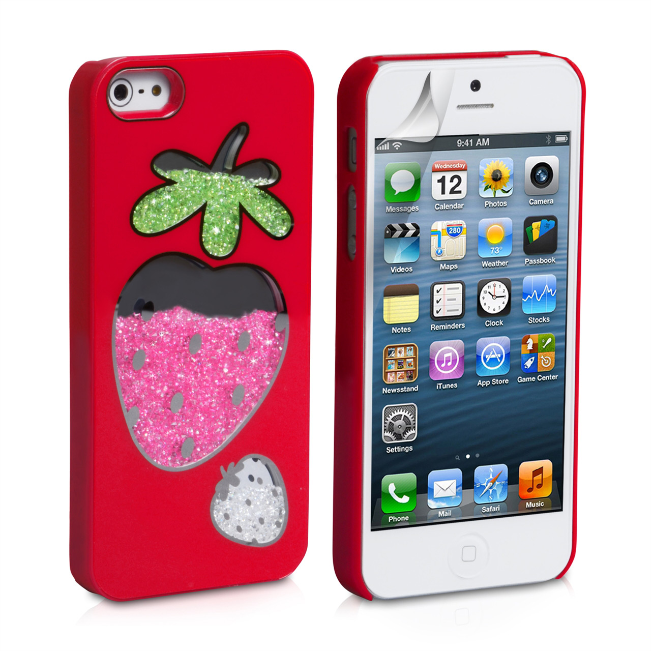 YouSave Accessories iPhone 5 / 5S Red Strawberry Bling Hard Case