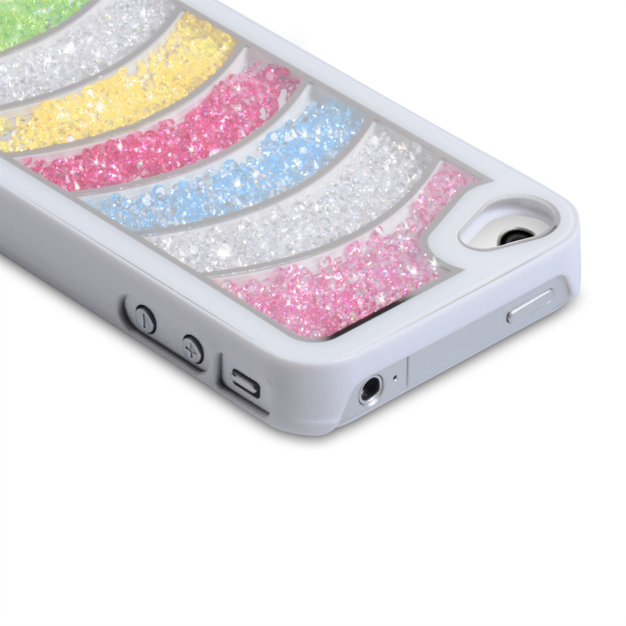 YouSave Accessories iPhone 4 / 4S Rainbow Bling Hard Case - White