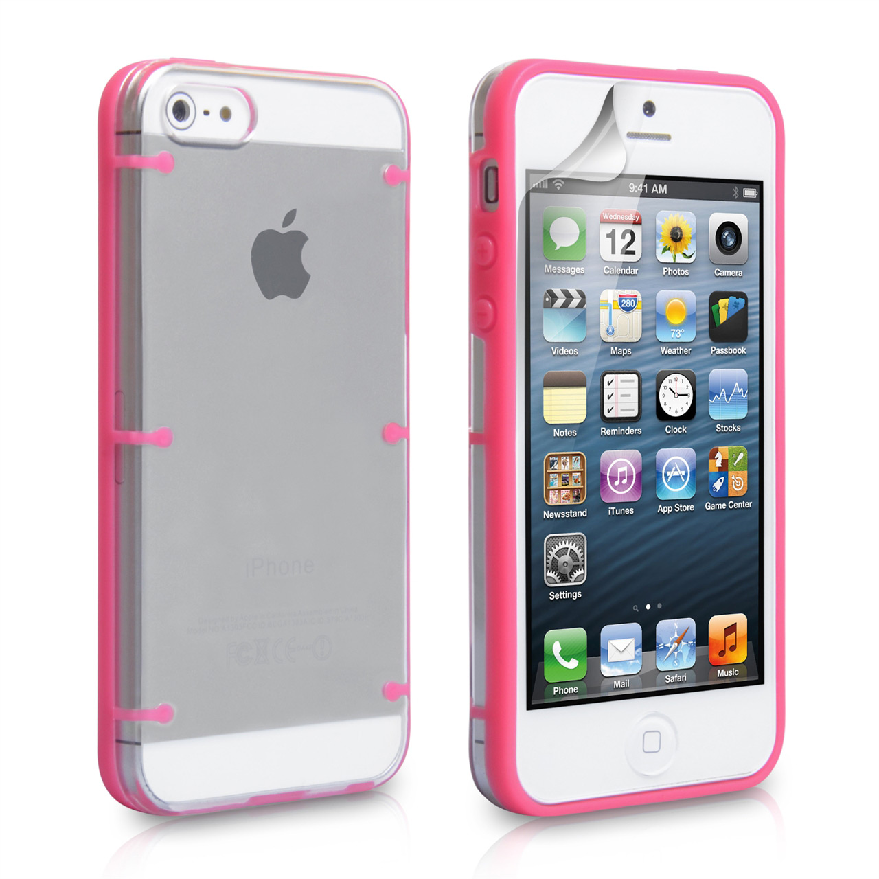YouSave Accessories iPhone 5 / 5S Hard Hybrid Case - Pink-Clear