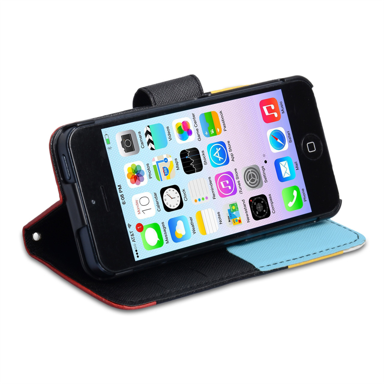 YouSave iPhone 5 / 5S Black Inner Leather Effect Wallet Stand Case