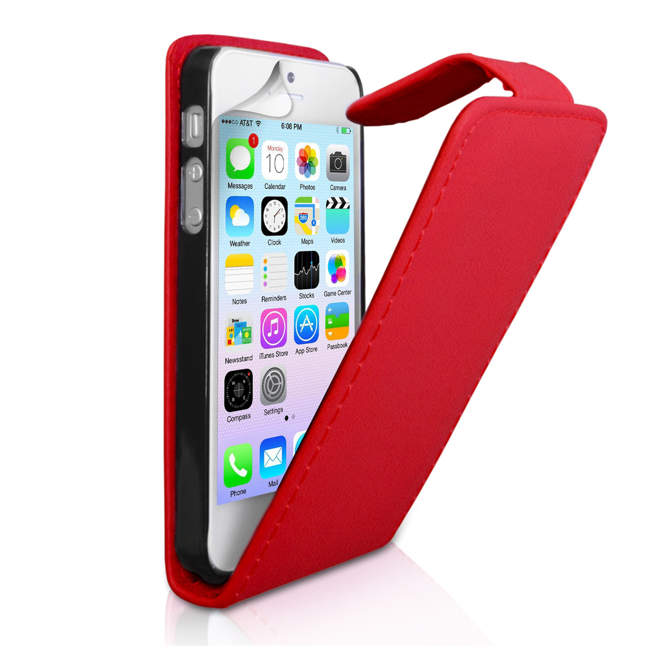 YouSave Accessories iPhone 5 / 5S Leather Effect Flip Case - Red