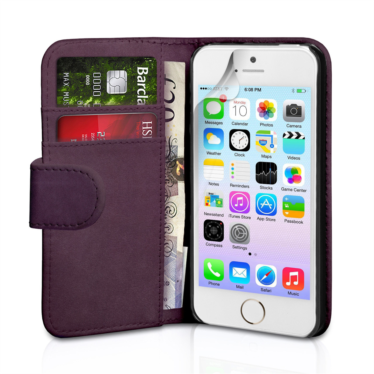 YouSave Accessories iPhone 5 / 5S Leather Effect Wallet Case - Purple