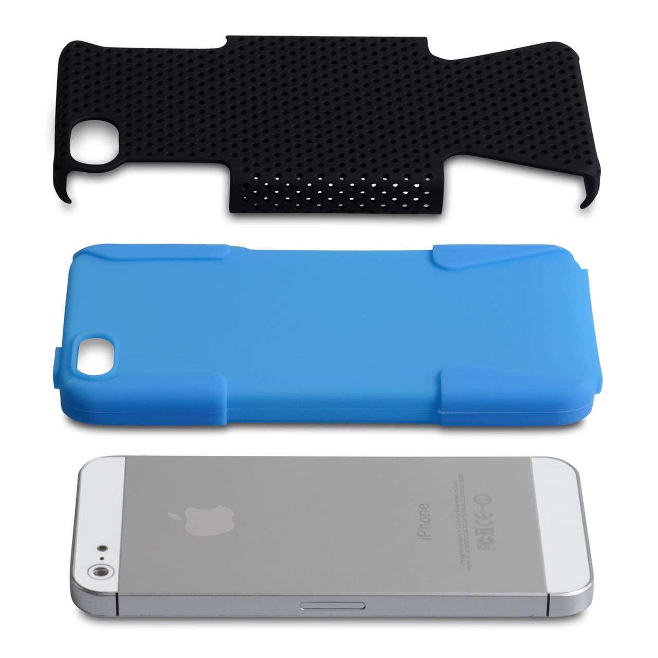 YouSave Accessories iPhone 5 / 5S Blue Mesh Combo Case