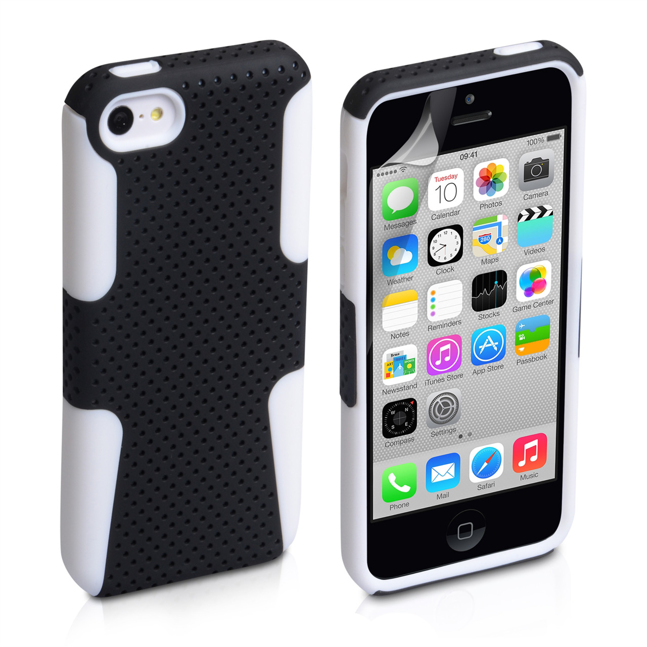 YouSave Accessories iPhone 5C Mesh Combo Case - White