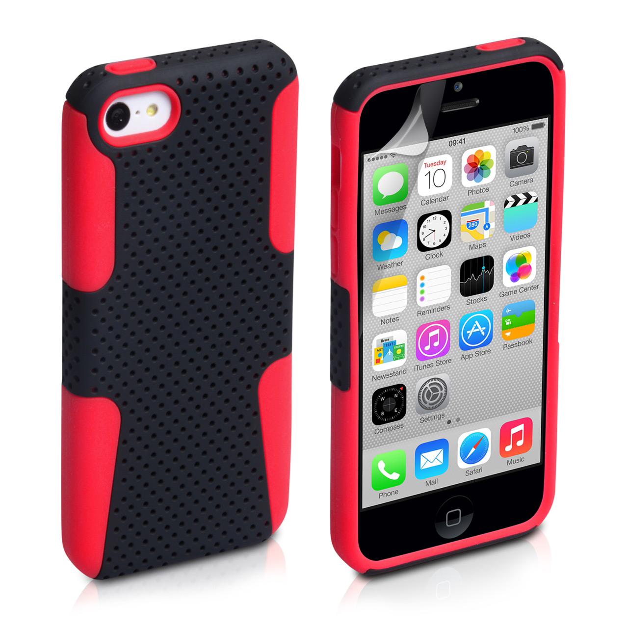 YouSave Accessories iPhone 5C Mesh Combo Case - Red