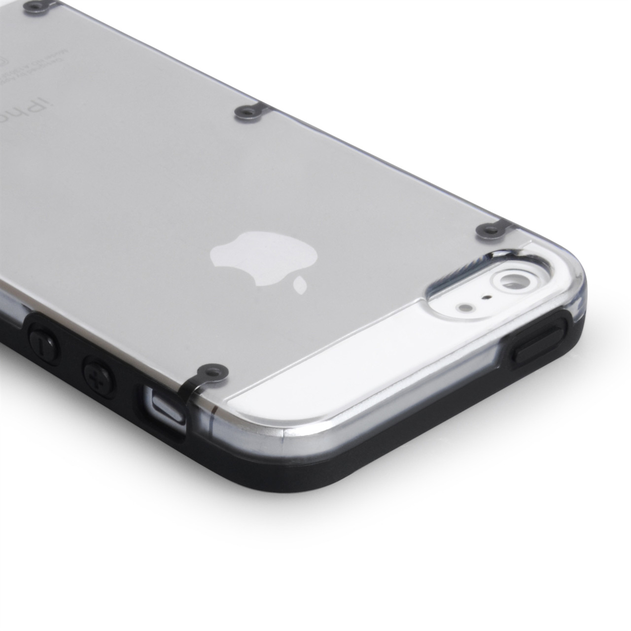 YouSave iPhone 5/5S Dot Design Gel and Hard Hybrid Case - Black-Clear