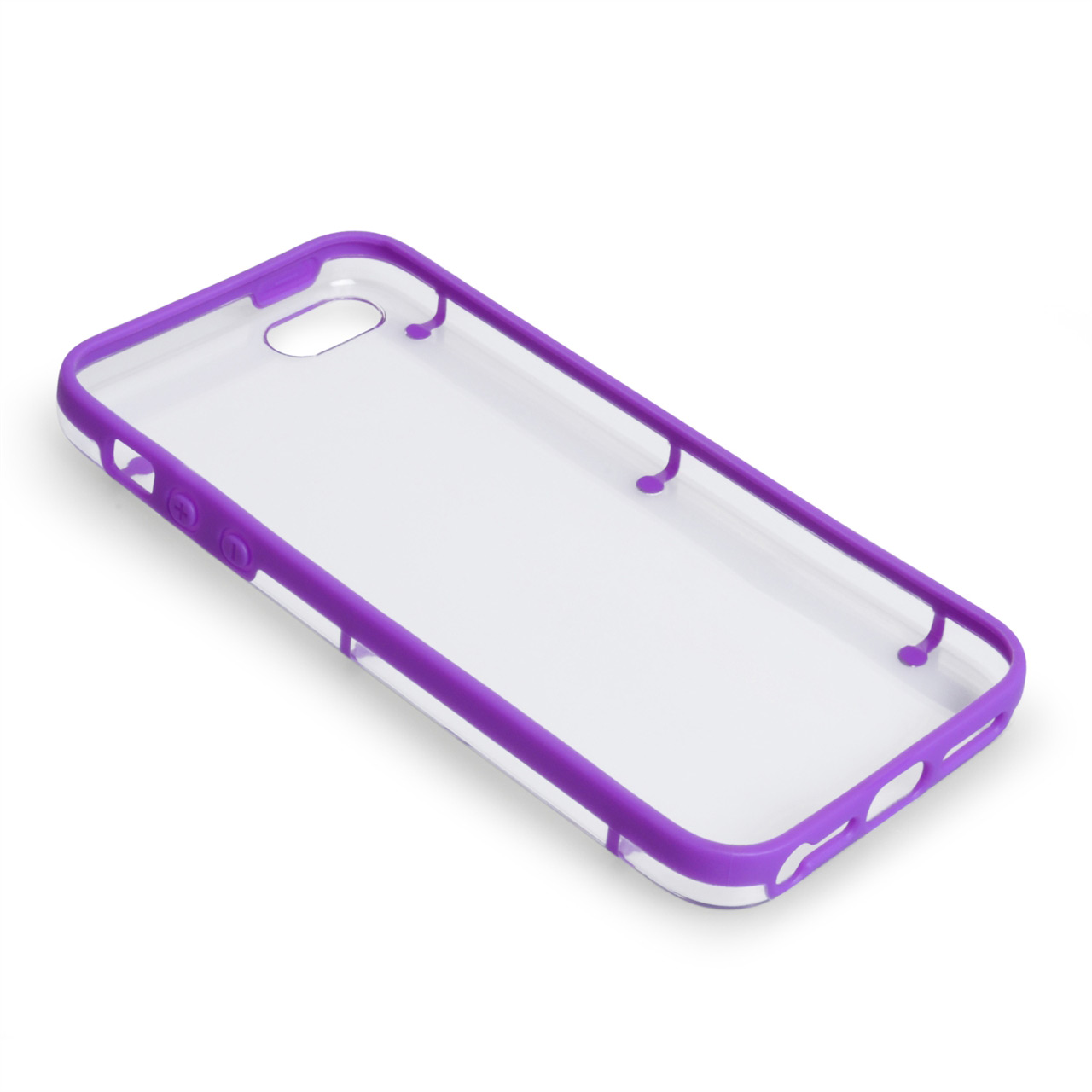 YouSave iPhone 5 / 5S Purple-Clear 6 Dot Design Gel Hard Hybrid Case