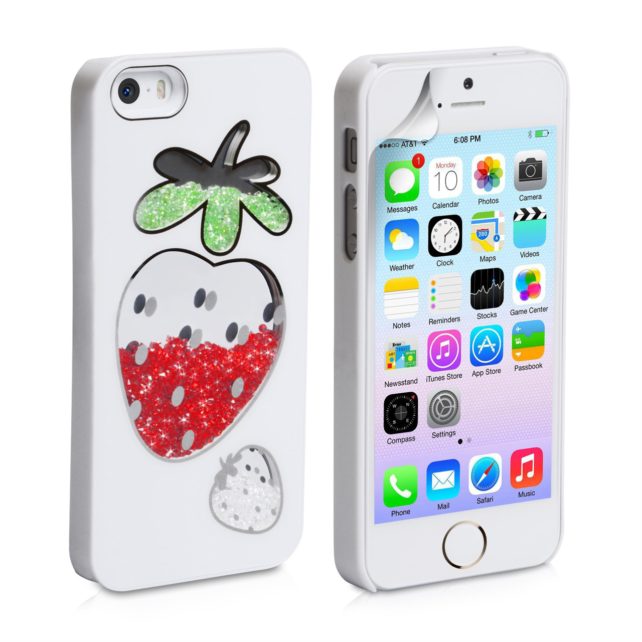 YouSave Accessories iPhone 5S Strawberry Bling Hard Case - White