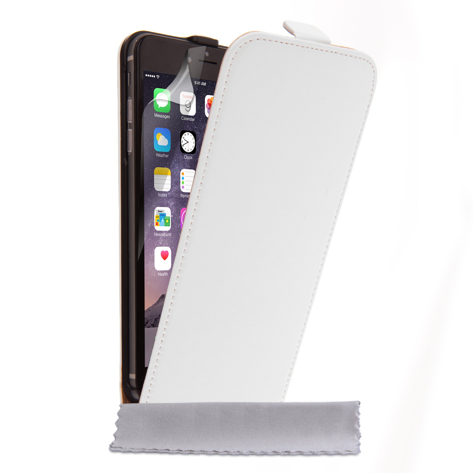 Caseflex iPhone 6 Plus and 6s Plus Real Leather Flip Case - White