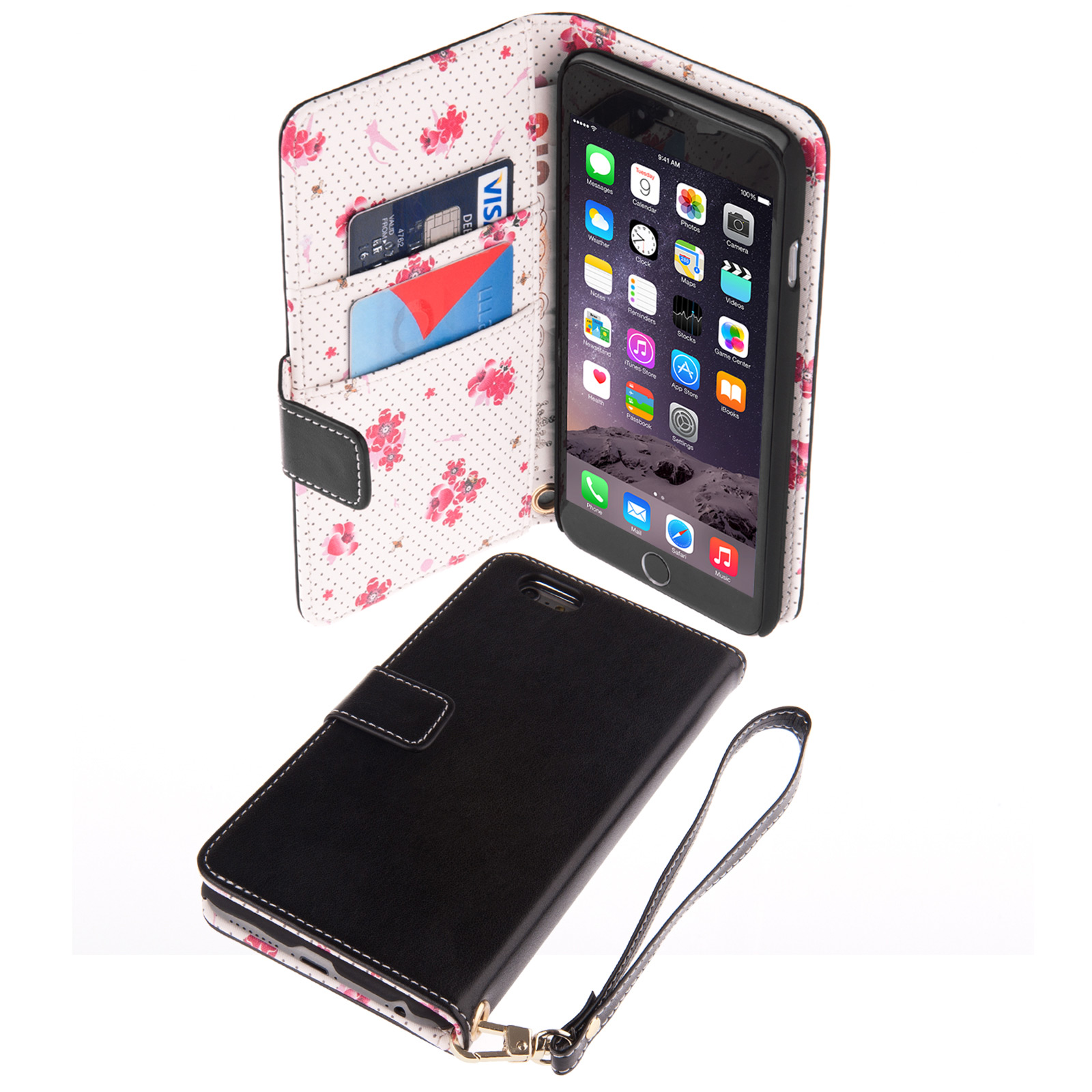 Caseflex iPhone 6 Plus and 6s Plus Leather-Effect Wallet Case – Black with Floral Lining