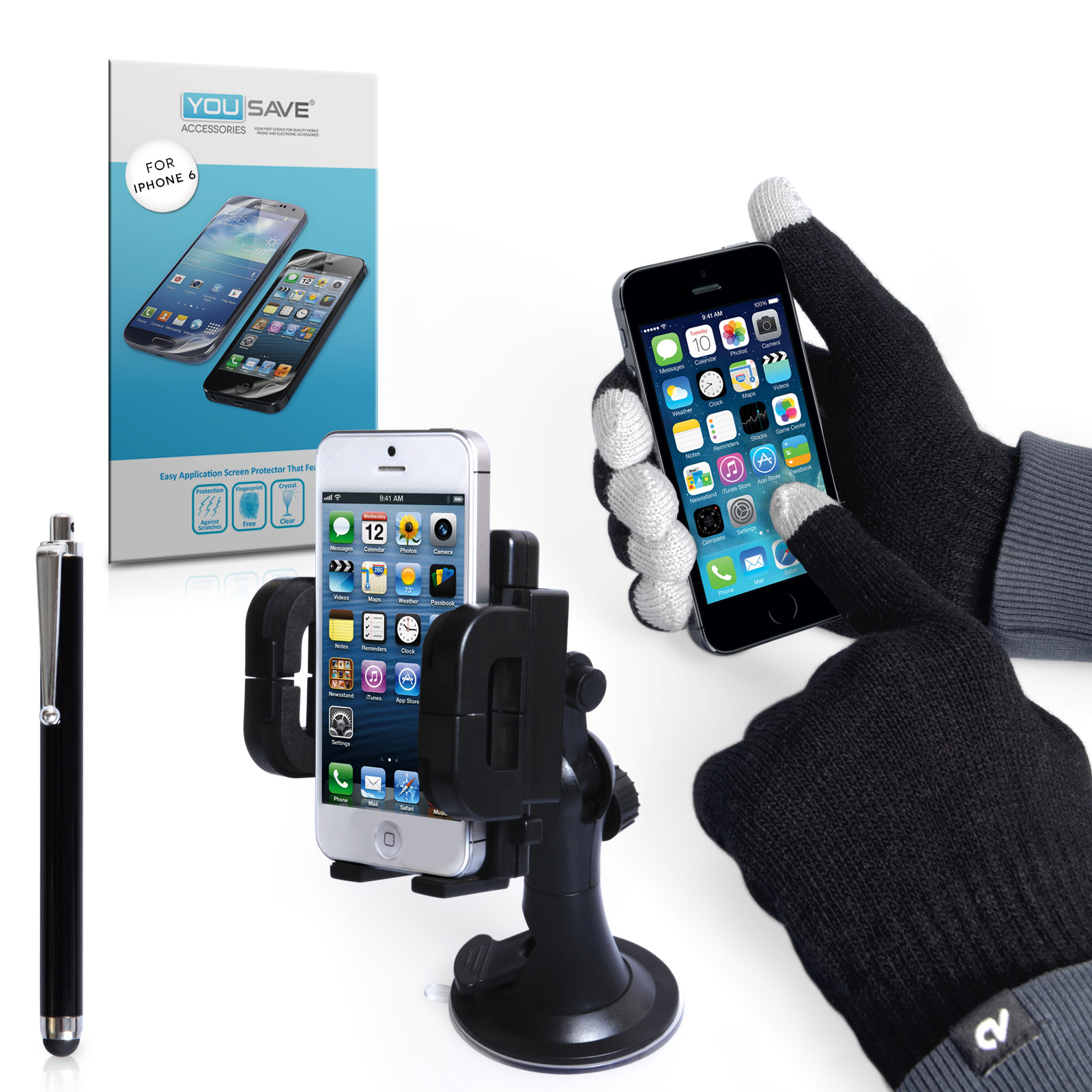 iPhone 6 Plus and 6s Plus / 6s Accessory Bundle Screen Protector, Touch Screen Gloves, Stylus, Car Holder