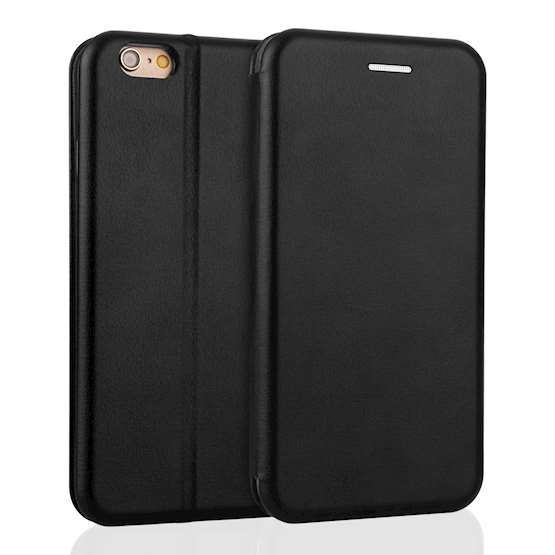 YouSave iPhone 6 / 6S Leather-Effect Stand Wallet with Felt Lining - Black