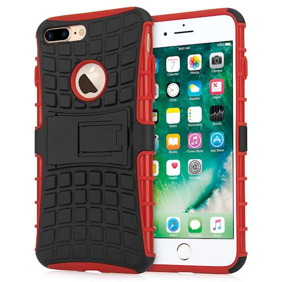 Caseflex iPhone 7 Plus Kickstand Combo Case - Red | Mob