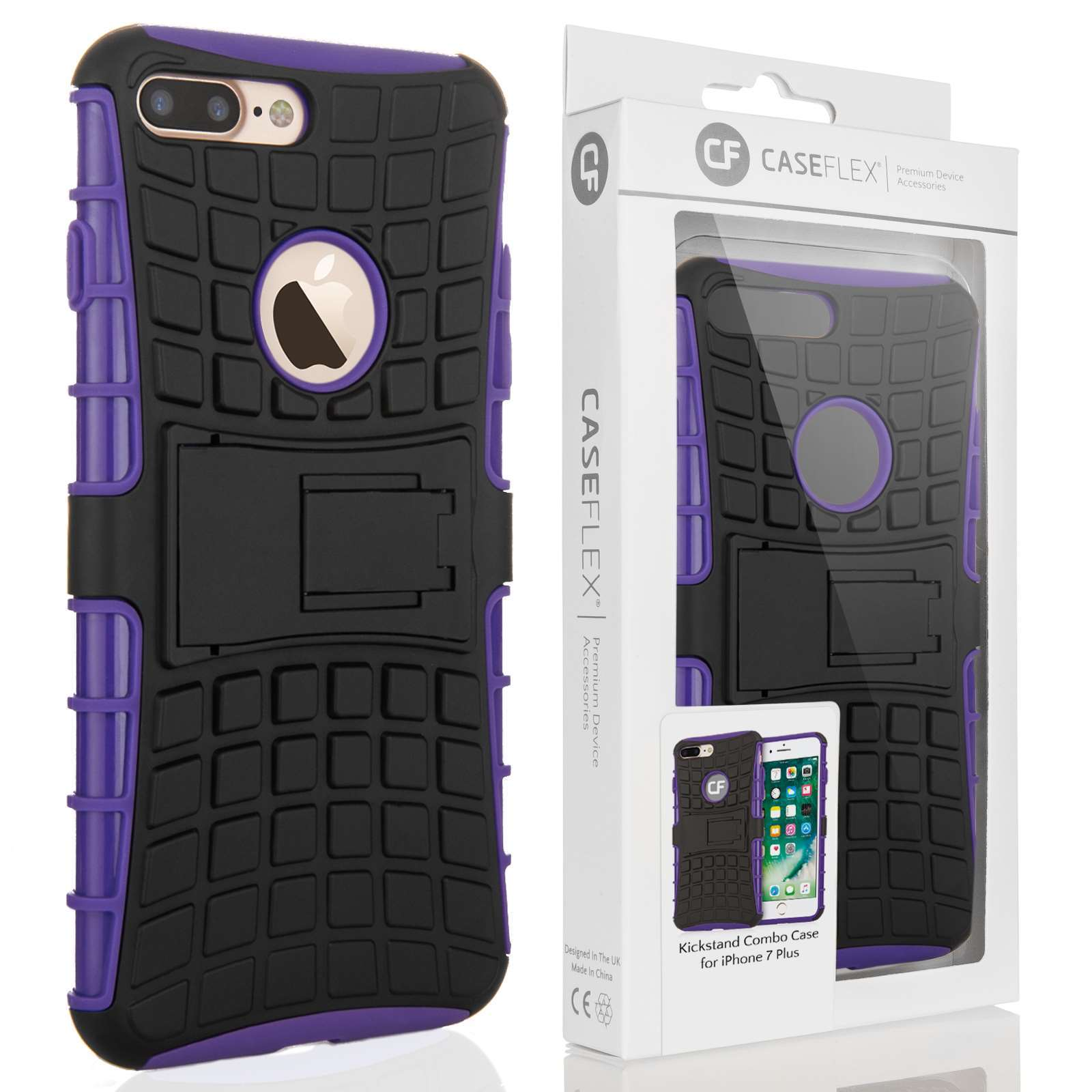 caseflex iphone 7 plus kickstand combo case purple retail box. Black Bedroom Furniture Sets. Home Design Ideas