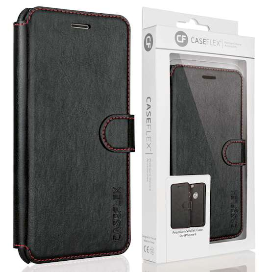 Caseflex Apple iPhone 6 and 6S Leather-Effect Wallet Case - Black with Red Lining (Retail Box)