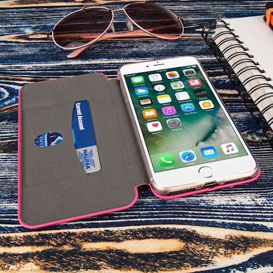 Caseflex iPhone 7 Plus PU Leather Stand Wallet with Felt Lining/ID Slots - Pink