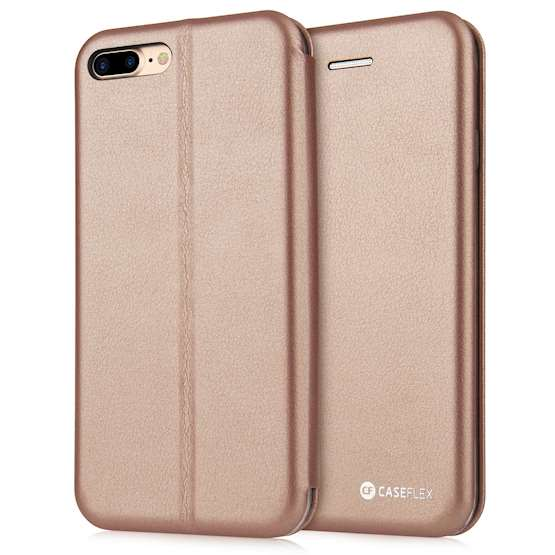 Caseflex iPhone 7 Plus PU Leather Stand Wallet with Felt Lining/ID Slots - Gold
