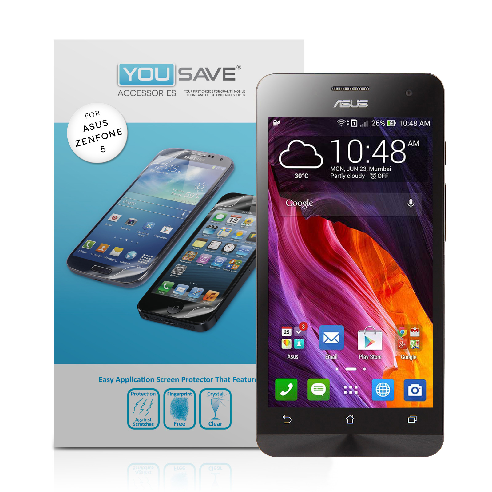 YouSave Accessories ASUS Zenfone 5 Screen Protectors x3