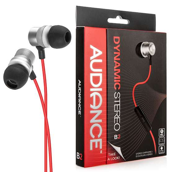 Audiance B2 Ear Buds - Silver with Red Cable