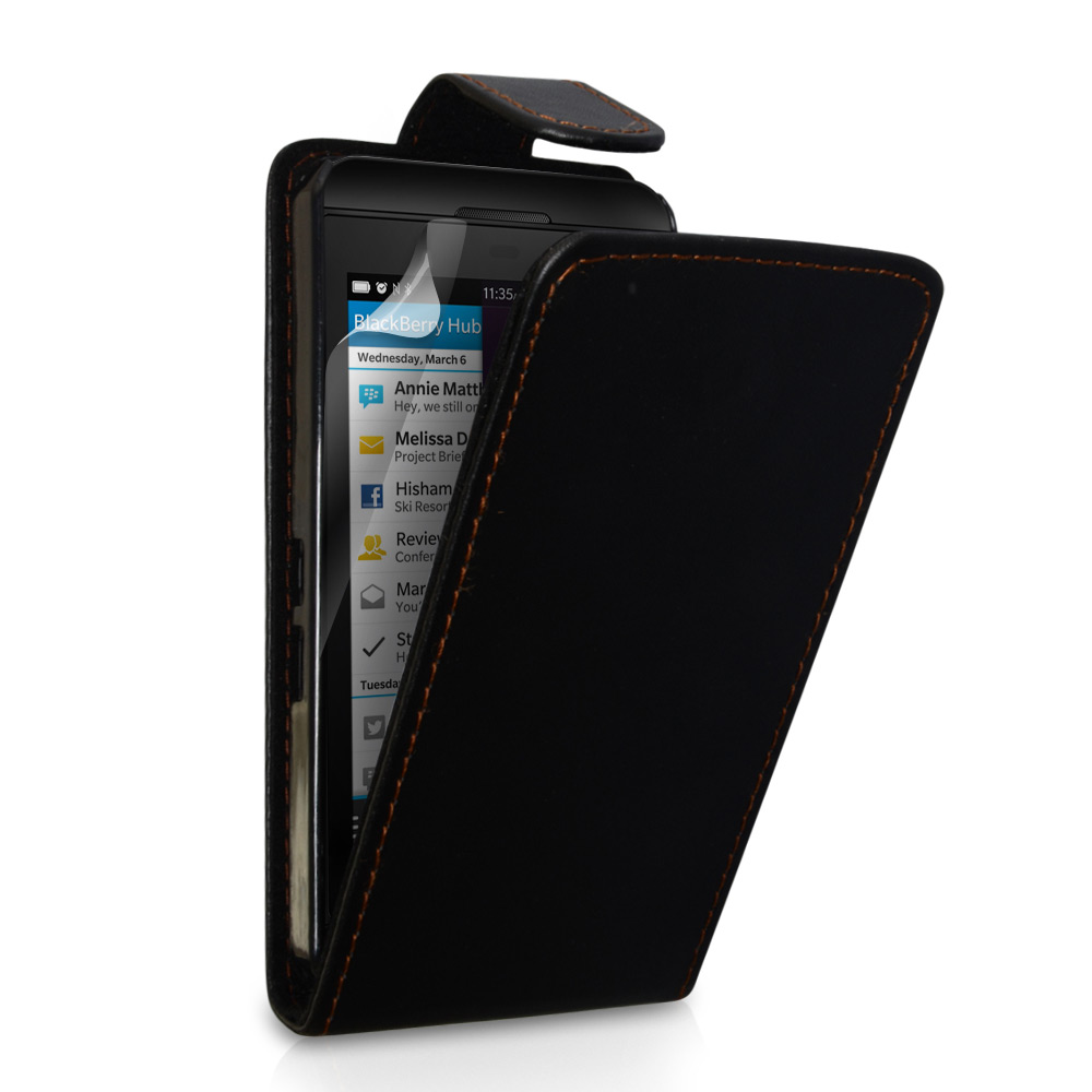 YouSave Accessories Blackberry Z10 Leather-Effect Flip Case - Black