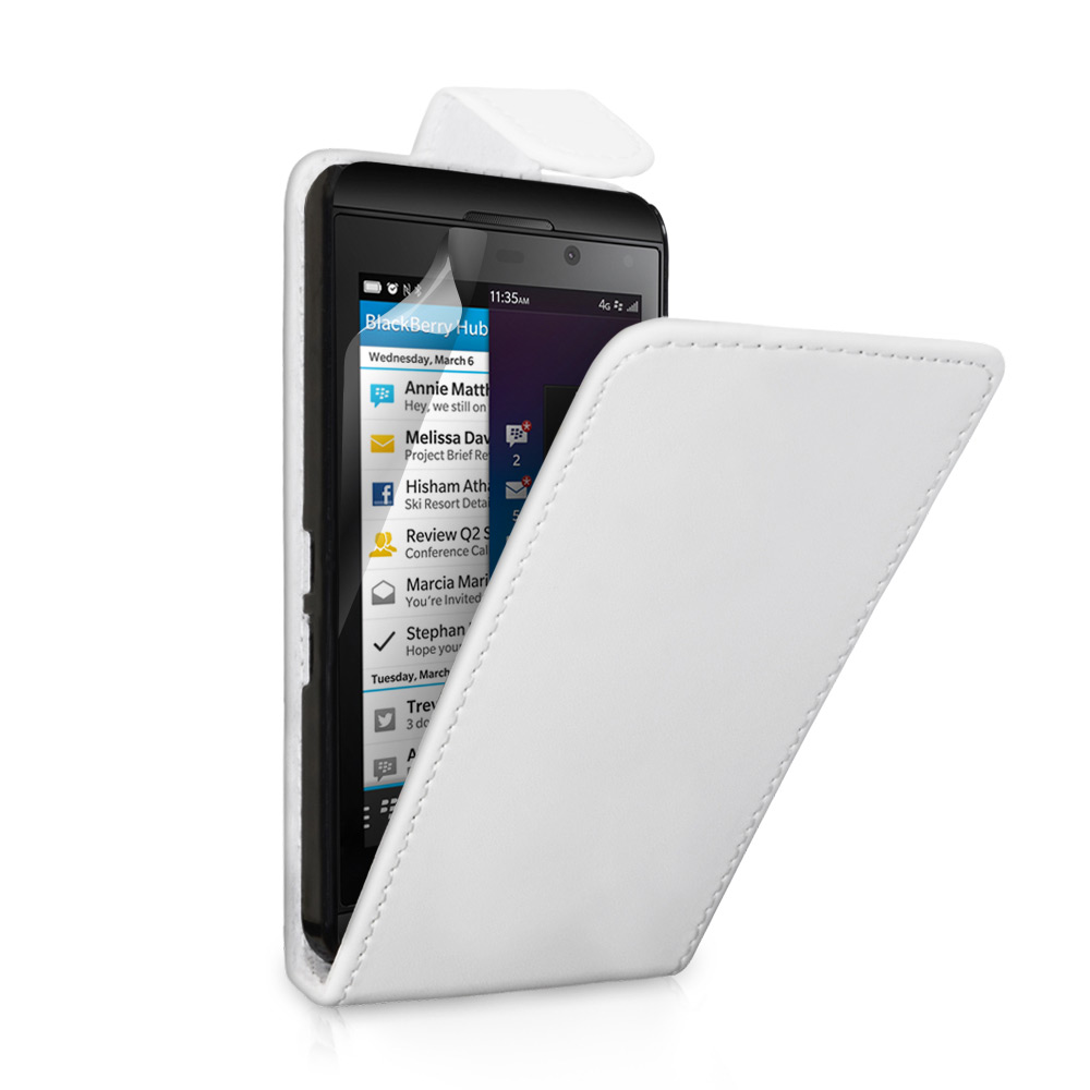 YouSave Accessories Blackberry Z10 Leather-Effect Flip Case - White