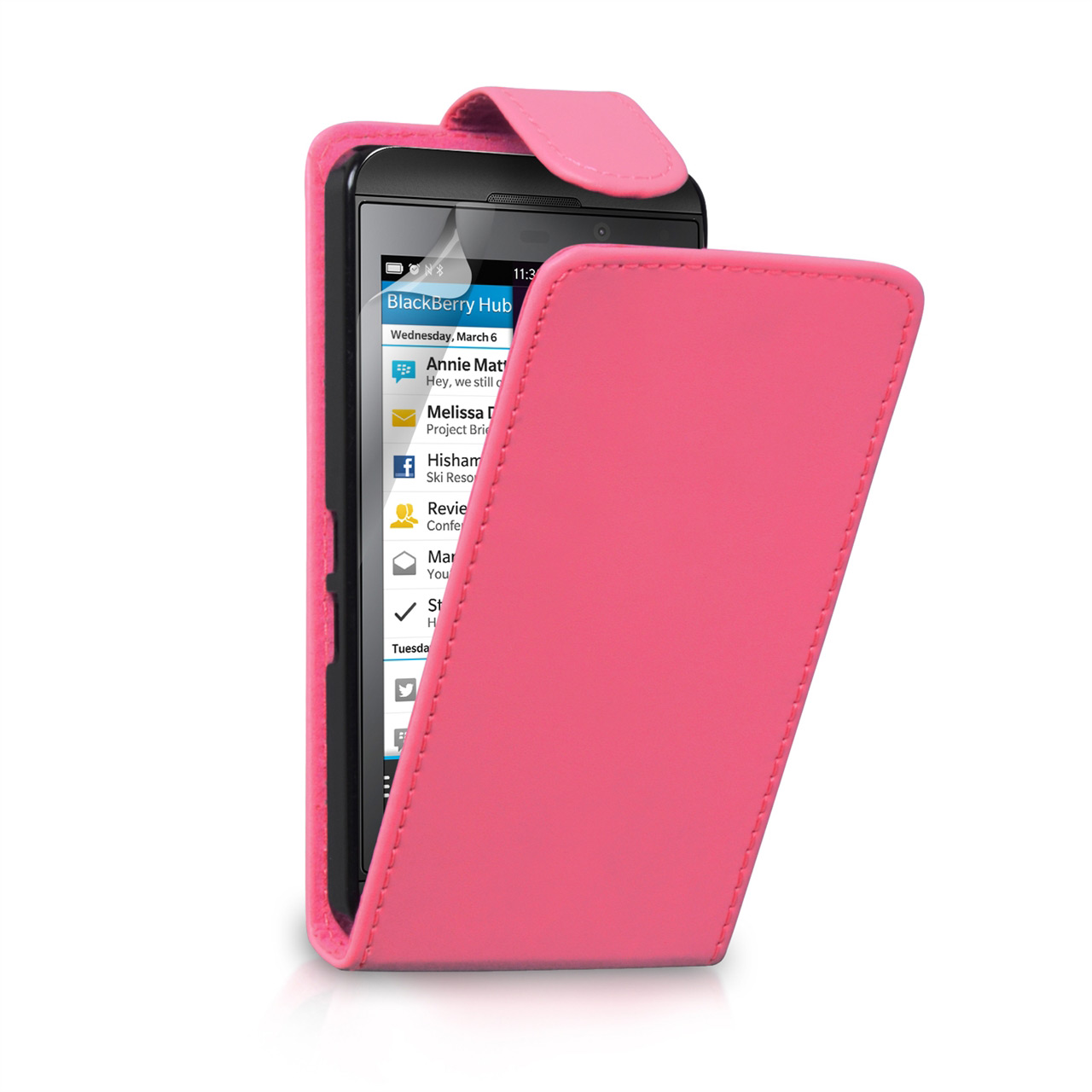 YouSave Accessories Blackberry Z10 Leather-Effect Flip Case - Hot Pink