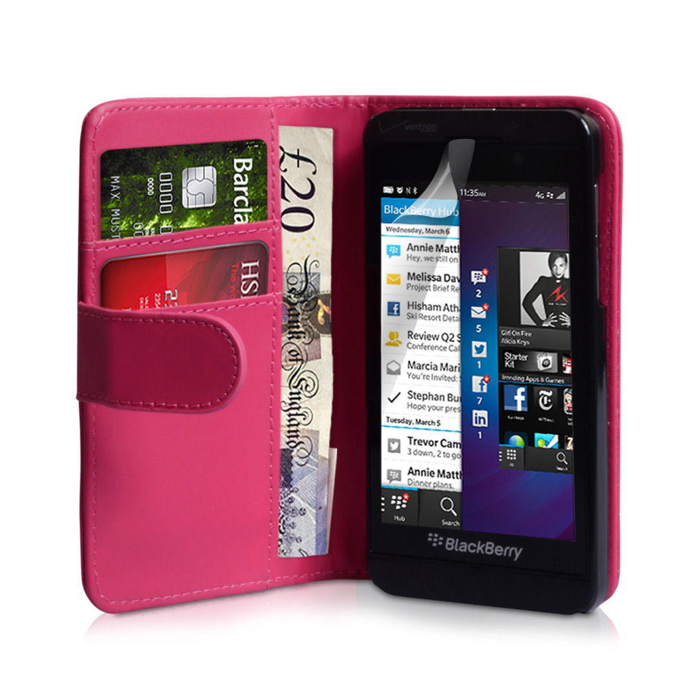 YouSave Blackberry Z10 Leather-Effect Wallet Case - Hot Pink