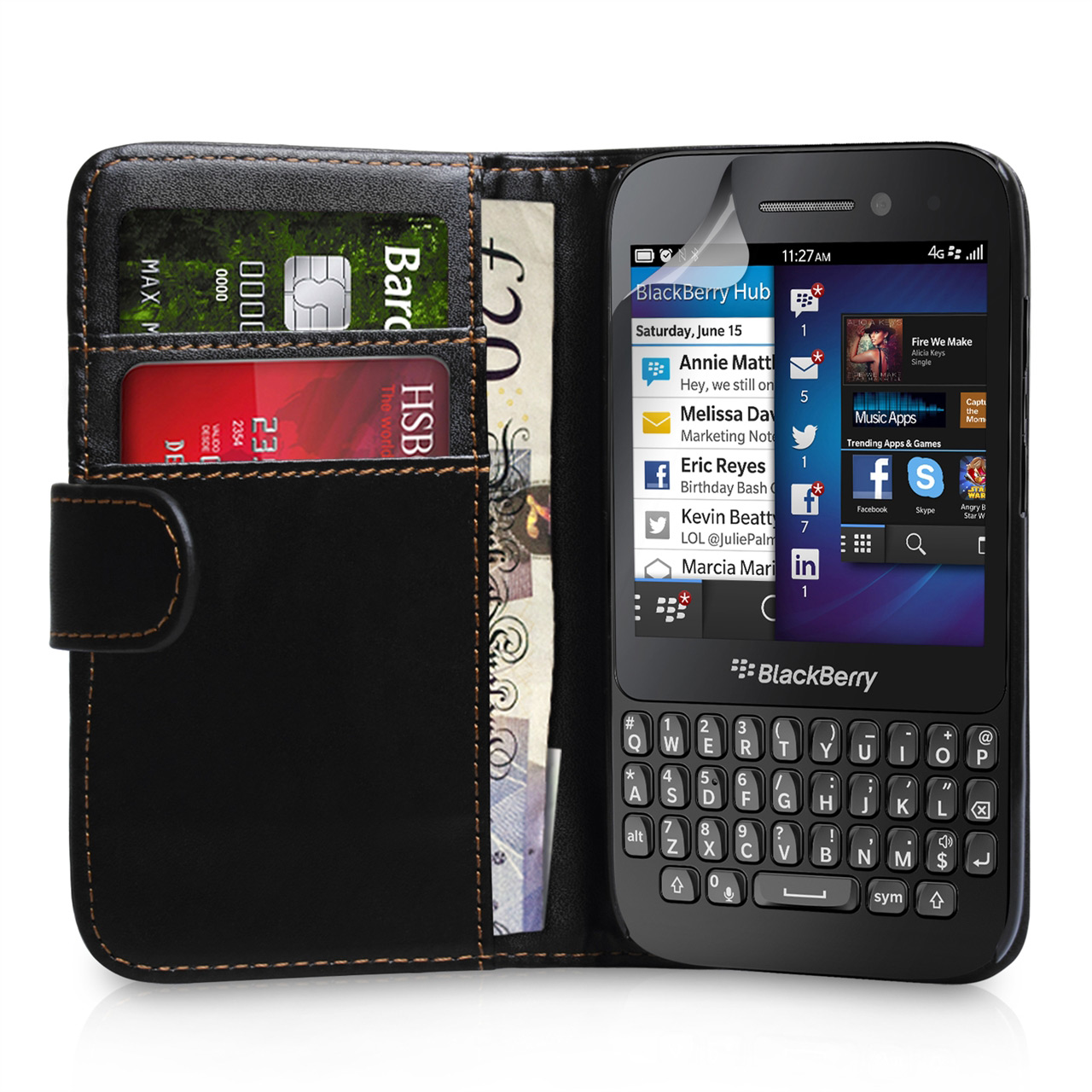 YouSave Accessories Blackberry Q5 Black Leather Effect Wallet Case