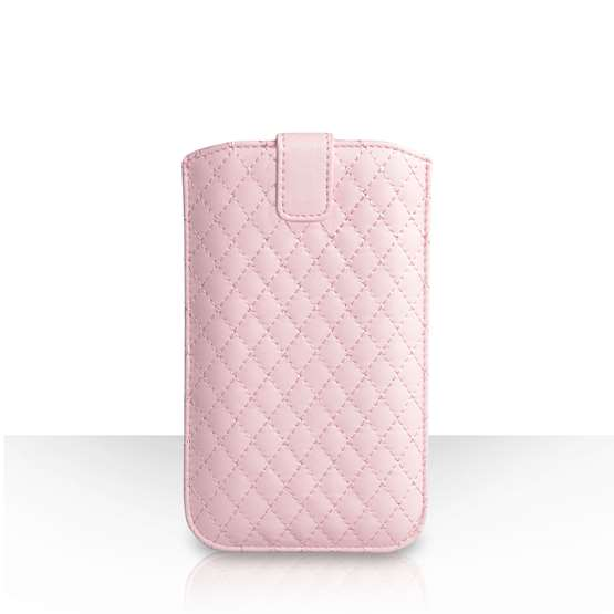 Caseflex Diamond Pattern PU Leather Auto Return Pull Tab Pouch (L) - Baby Pink