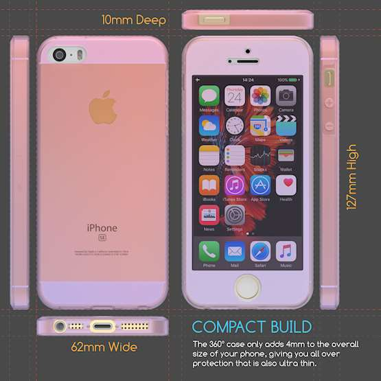 iPhone 5 / 5S / SE Full Body 360 TPU Gel Case - Pink / Purple